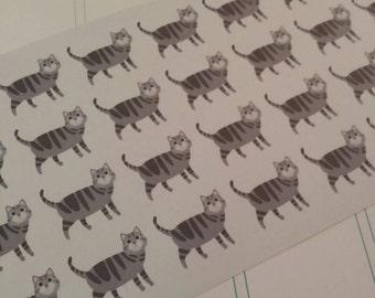 Grey Tabby Cat Stickers! Cat Stickers! Perfect for your Erin Condren Life Planner, calendar, Paper Plum, Filofax!