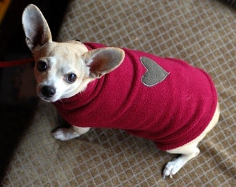 Custom Fleece Dog Sweater/ Coat w/ Applique~ Free U.S. Shipping!