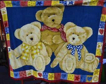 Teddy Bear Fleece Blanket with Crochet Edges
