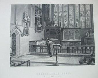 Antique Print C1800's Shakspeare's Tomb Stratford Church Engraving Original Home Decor Picture William Shakespeare