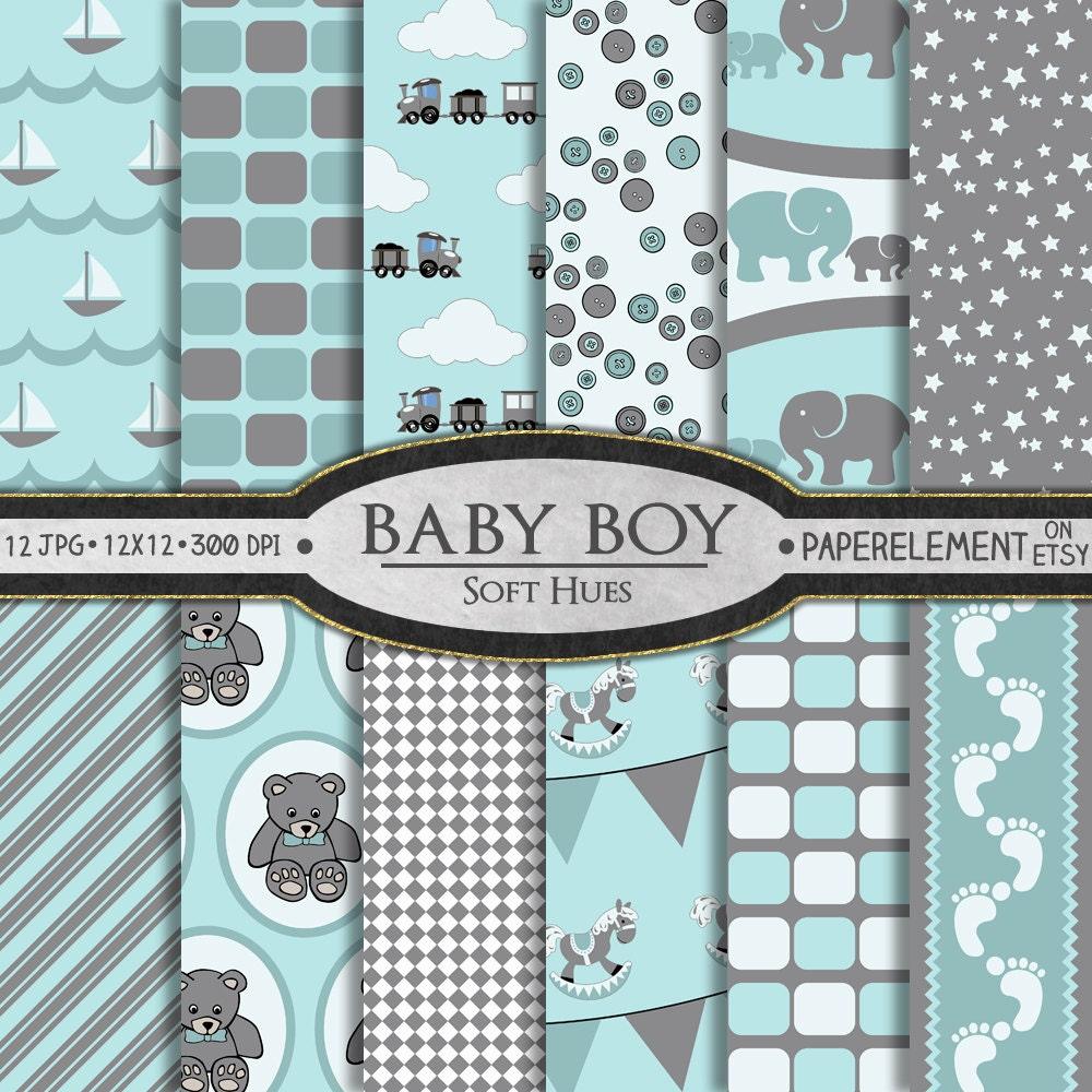 Baby Boy Scrapbook Paper Baby Boy Digital Paper In Soft Hues