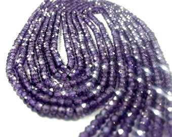 "3mm, 14 "" AAA Amethyst Zircon Beads"