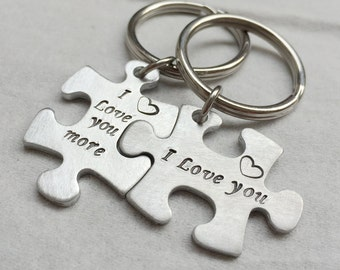 couples gift set Silver Puzzle piece keychain set, Silver puzzle piece jewewlry couples, puzzle keychain, puzzle keychain gift for couples