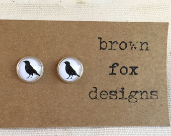 Black crow silver stud earrings