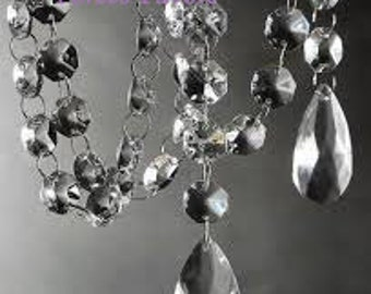 24 Hanging Crystals with Large Teardrop wedding centerpiece