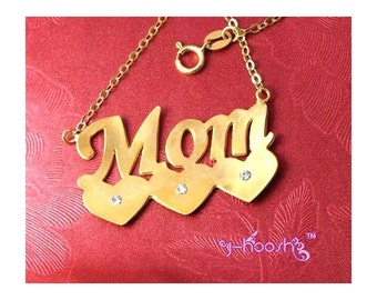 18K Gold Plated Over Sterling 925 Silver Mom Name Necklace with Hearts - Any Name Can Be Made