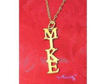 18K Gold Plated Over Sterling 925 Silver VERTICAL Name Necklace Men - Any Name Can Be Made