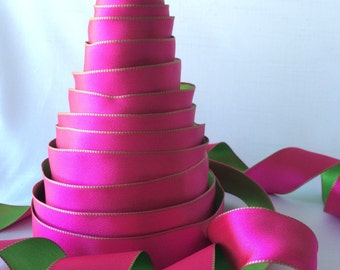 "Pink and green reversible ribbon - 1.5"" wide wired seamless ribbon for bows, Valentine's Day decorations, gifts, wrap"