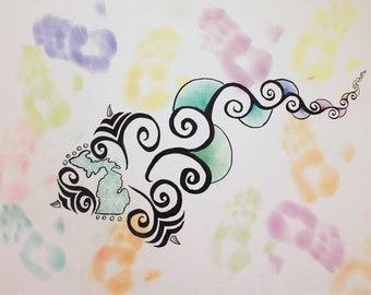 """Michigan inspired original artwork: (s)Mitten - pastel & ink on canvas - 22"""" x 30"""""""