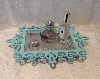 Light Blue and Silver Vanity Tray