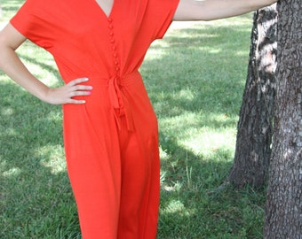 "Vintage 1970s Red-Orange ""My Latest Leslie Fay"" Jumpsuit"