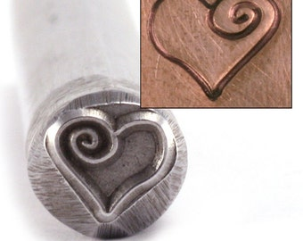 Heart with Spiral Metal Design Stamp, Large 7.5mm - Metal Stamping / Punch Tools for Metal Stamped DIY Jewelry, Jewelry Making Tools (DS197)