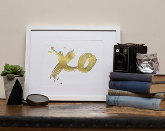 Gold Foil X O Print Unframed