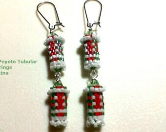 Peyote Christmas Double Tubular Dangle Earrings