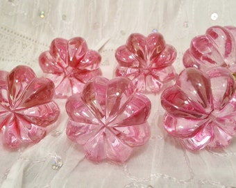 New 6 Pink Scallop Melon Knobs