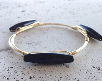 Black and Gold wire wrap bracelet bangle handmade Jewelry