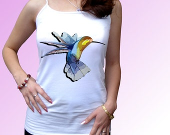 Hummingbird - new white t shirt cami cotton, animal design art - mens womens kids & baby bodysuit sizes!