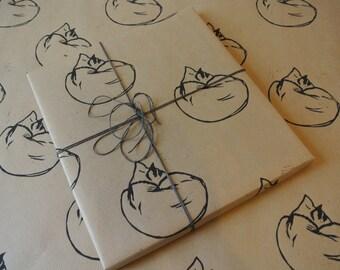 Sleeping cat gift wrap, hand printed - three sheets - 50 x 75cm