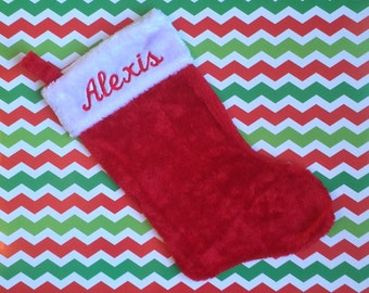 Personalized Christmas Stocking - Plush Red and White with Name