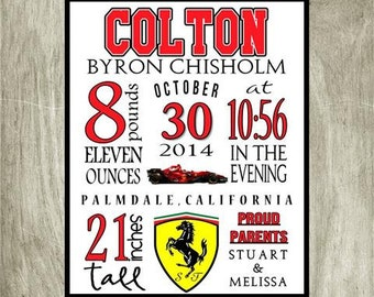 Birth Stat Personalized Ferrari Formula 1 Print, 8x10 digital file