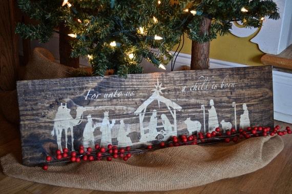 Rustic Wooden Nativity Sign Christmas Decor Manger Scene