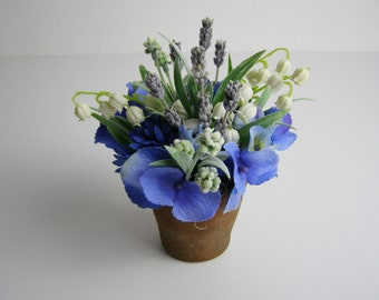Realistic faux flower arrangement lavender white lily of the valley blue hydrangea genuine vintage terracotta home decor gifts SIA flowers
