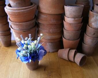 Silk flowers - arrangement lavender white lily of the valley blue hydrangea genuine vintage terracotta home decor gifts SIA flower supplier