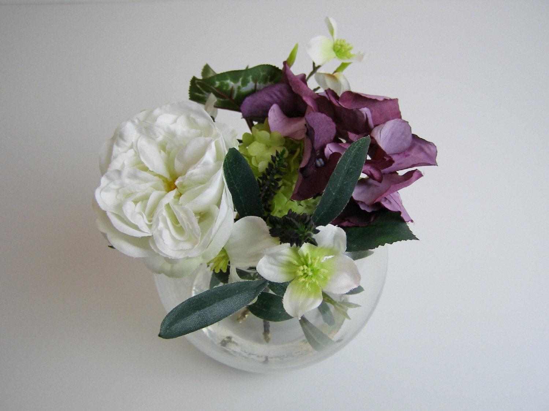 fleurs en soie sia arrangement pourpre hortensia heather. Black Bedroom Furniture Sets. Home Design Ideas