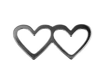 2 hearts connector for bracelets Sterling Silver 925