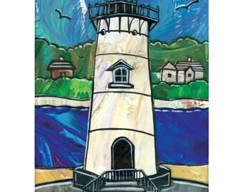 Martha's Vineyard Lighthouse Print.  Edgartown Light. 5x7, matted to 8x10.