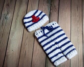 Crochet Newborn sailor outfit/photo prop/ boy outfit