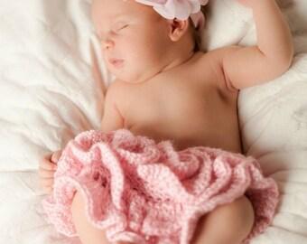 Crochet Newborn Skirt ruffled tutu skirt.  Photo prop, Pink, White, Teal, Lavender  Handmade