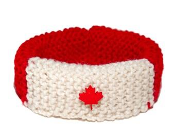 Canada hand knit dog Collar Cozy