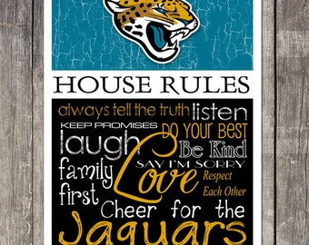 Jacksonville Jaguars House Rules 4x4.1/2 Fridge Magnet