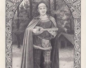 Celtic Bard pencil sketch