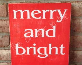 Merry and Bright Wooden Sign