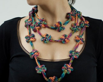 Crochet necklace of colorful flowers