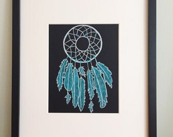 Dreamcatcher Illustration || White and Teal Dreamcathcer Drawing on Black Archival Paper || I DREAM in ULTRAMARINE