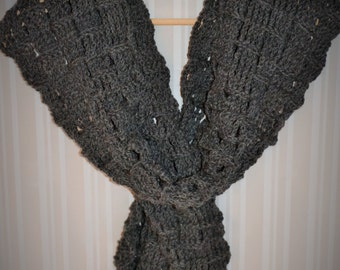 Unique Wool Scarf- Dark Heather Grey
