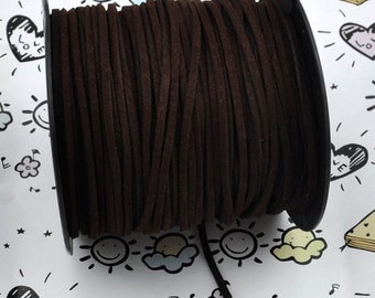 10 meters of Square Dark brown Suede Faux Leather Ribbon Cords String ---J247