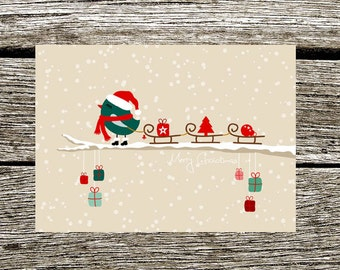 "Postcard Christmas, Christmas card ""Sled bird"", Christmas greeting card"