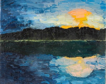 night on a lake oil on canvas