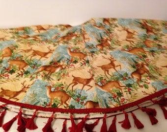 Bucks and Holly Christmas tree skirt