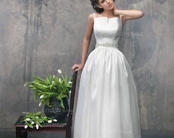 "Simple chic Wedding Dress from Mikado Designer dress unique Wedding Handmade gown Luxury Wedding  Aristocratic wedding - ""Antares"""