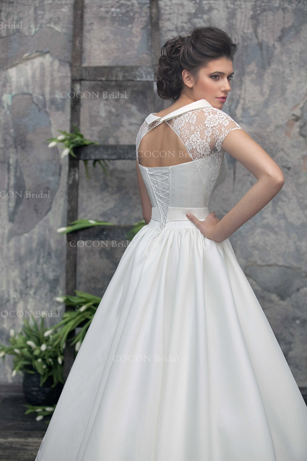 Luxury A Line Wedding Dress With Vintage Lace Mikado Silk And