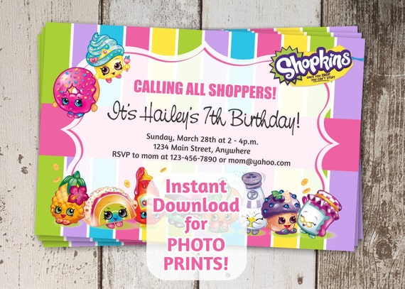 This is a graphic of Satisfactory Shopkins Printable Invitations