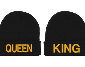 King Queen Beanie Soul Mate Couple Hat