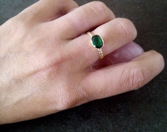 SALE!  Gold Emerald Ring - Green  Gemstone Ring - Stackable Ring - May Birthstone Ring - Bezel ring - Simple Ring