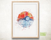 Poké Ball, Pokemon - Watercolor, Art Print, Home Wall decor, Watercolor Print, Pocket Monsters Poster