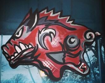 Arkansas razorback door hanger. Hogs Painting. Whoo Pig Sooie Sign.  Original artwork. Ready to hang! Hogs art. Door Bling!